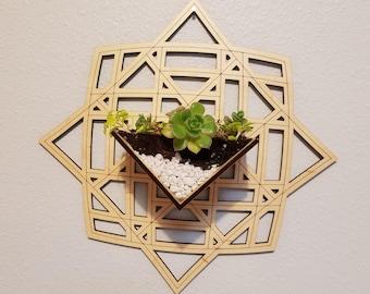 Wall Hanging Planter // Laser Cut . Wood . Engrave . Personalized . Succulents . Tillandsia . Plants . Geometric . Custom . Design // v.03