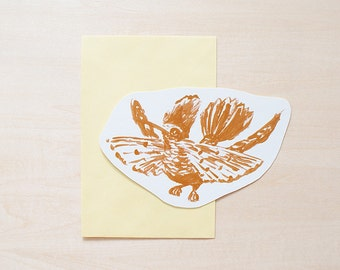 Bird - Yellow Greeting Card, Blank Card, Holiday Card, Blank Greeting Card, Handmade Card, Shape Card