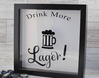 Lager, Gifts For Him, Male Gifts, Alcohol Gifts, Personalized Gift, Lager Cap Shadow Box, Lager Lover Gift, Gifts For Men, Fathers Day Gift