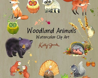 Woodland Animals Watercolor Clip Art - bear - fox - owl - chipmunk - hedgehog - raccoon - mouse - kids clip art PNG JPG
