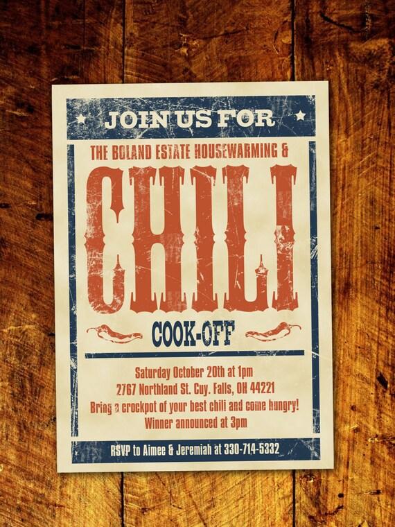 Chili Cook-Off BBQ Invitation Digital Download