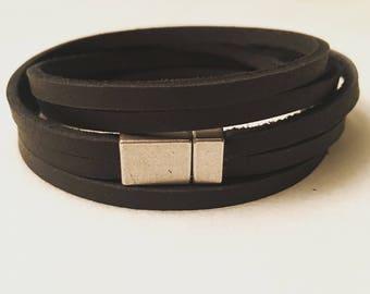 Two strand leather wrap bracelet