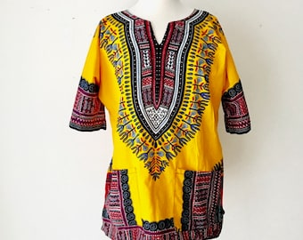 Vintage African Dashiki Tunic |  BoHo Beach Cover Up | African Tribal Tunic | Coachella Festival Wear / Bohemian Clothing
