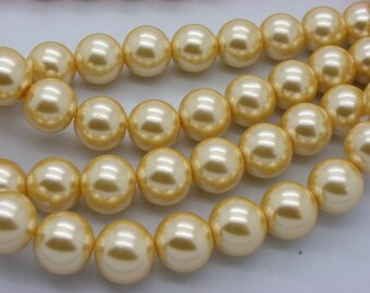 25 beads 12 mm glass Pearl beige yellow mother of Pearl