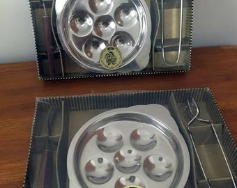Vintage Escargot  Plates // Stainless Steel and Wood with Trays, Forks and Tongs // Snail Server