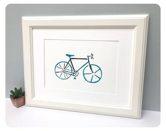 Art Print, Limited Edition, Wall Art, Screen Print, Bicycle, Bike, Home Decor, A4 print