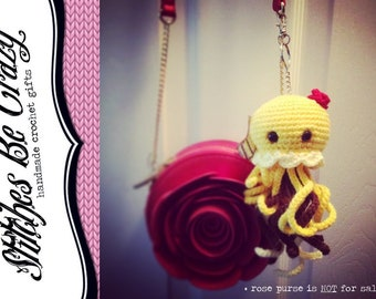 Kawaii Jellyfish Belle Beauty & the Beast crochet keychain - Free Shipping