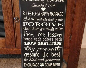 Personalized Marriage Rules Sign - Wedding, Anniversary