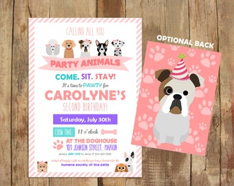 Puppy Party Invitations - Come Sit Stay - Pawty Invite - Boy and Girl Versions Available - DIGITAL file only