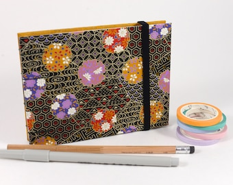 Small Black Purple Floral Japanese Washi Hand bound Hardcover Coptic Sketchbook - acid free sketch paper