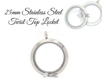 Floating Locket • Stainless Steel • Twist Top • Medium 25mm • Holds Floating Charms -  SS103