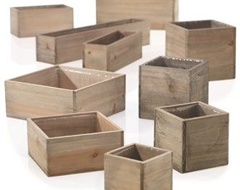 Wood planter with plastic liner,, square, rectangle, wood box, centerpiece, wedding