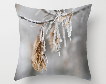 Winter Pillow Cover, Aluminum Grey, Winter Throw Cushion Case, Frosted Branches, Snow Themed Man Cave Decor, Canadian Handmade Rustic Accent