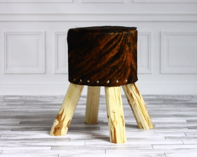 Luxury Beautiful Real SHAGGY Cowhide STOOL, Chair, Pouf, Scandinavian Design Birch Tree stool