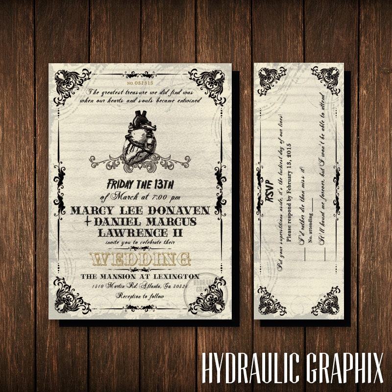 Friday the 13th Wedding Invitation and RSVP Ticket Gothic
