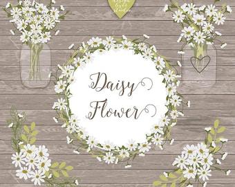 Premium Vector Rustic daisy wedding clipart, daisies clipart, Hand Drawn clipart,wedding clipart, flower clipart, wood digital paper