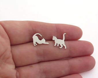 Mismatched Cats Earrings - Sterling Silver Cat Jewelry - Cat Lover Gift