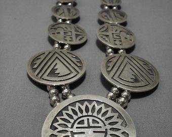 Museum Vintage Hopi/ Navajo Sterling Silver Squash Blossom Necklace Old