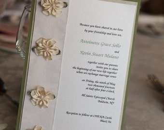 Fancy Green, Ivory and Tan Floral Layered 5x7 Wedding Invitation