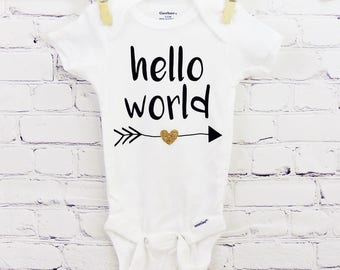 Hello World Baby Onesie - Customize it - Baby Gift Idea - Baby Bodysuit - Newborn Announcement