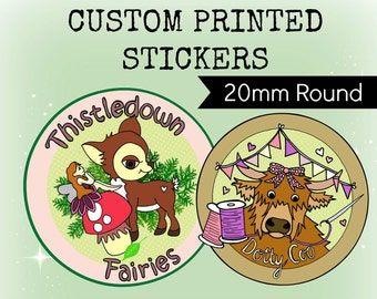 Custom Stickers Design - Plus x336 Professionally Printed 20mm ROUND Stickers