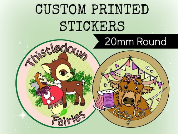 Custom stickers design plus x336 professionally printed 20mm