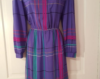 LADY CAROL Of New York DRESS // 80's Rainbow Plaid Purple Shirtwaisted Dress Petite M/L Knee Length Button Up Collared
