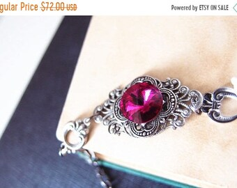 Summer Sale 20%0FF Hilaeira--Swarovski fuchsia rivoli crystal antique silver brass adjustable bracelet