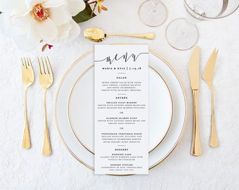 Calligraphy Wedding Menu, Script Menu, Simple, Elegant Wedding Menu