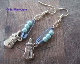 Baby blue pin surgical steel hooks earrings