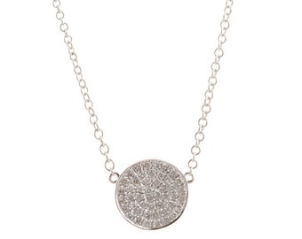 White Gold Circle Pave Necklace
