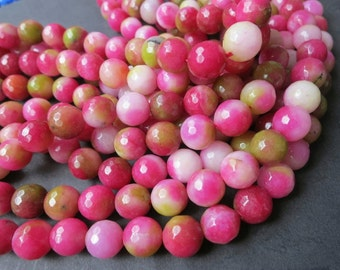 Jade in White Green Fuchsia Pink 10mm Round Beads Faceted