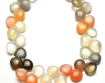 Natural Gemstone Multicolor Moonstone Smooth Heart Shape Briolette 9 Inch Full Strand 9MM Approx. Super Quality Hand Polished Beads