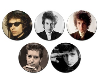 5x Bob Dylan Folk 25mm / 1 Inch D Pin Button Badges