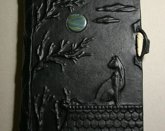 Large leather bound journal handmade blank book Cat and the Moon