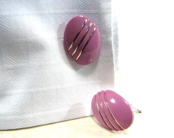 Womens Cuff Links Pink Oval with Silver French Cuff Upcycled Accessories