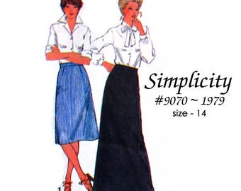 Simplicity 9070 Misses Straight Skirt in Three Lengths - Easy to Sew - Size 14 - Vintage 1979