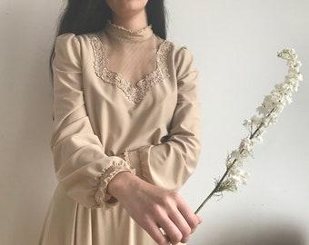 Vintage 1970s Victorian Lace Dress