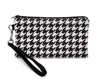 Women's iPhone 7 Wallet, Black Samsung Galaxy S7 Wristlet, iPhone 8 Plus Case, Small Makeup Purse - black and white houndstooth