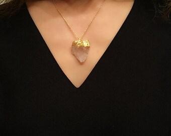 Raw Rose Quartz necklace, Gold dipped Rose Quartz necklace, Gold dip Green Fluorite necklace, Raw gemstone necklace, Raw fluorite necklace