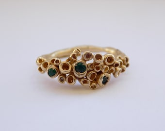 Gold ring, alternative wedding ring, engagement ring, lichen ring, emerald ring, unique bride,
