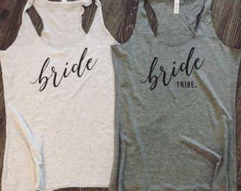 Bachelorette Party Shirts. Bridal Party Shirts. Bachelorette Shirts. Bride Tribe. Bride Tribe Tanks. Gold. Bride Shirt. Bridesmaid Gift.