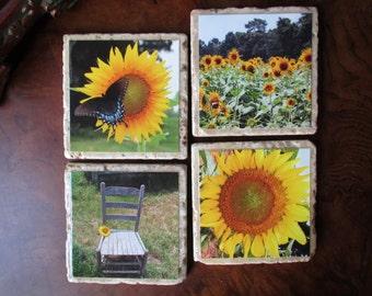 Sunflower Coaster Set Stone (set of 4)