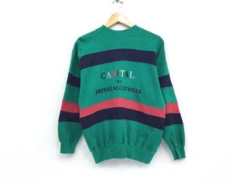 Rare!!Vintage Capital by Imperial Cutwear Sweatshirt Colour Blocked Embroidery Biglogo