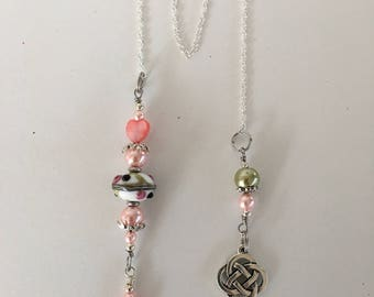 Silver Chain Bookmark in pink and a touch of green beading will look good sticking out of your book or an affordable gift