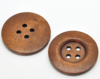 20 Large Brown Wooden Button - 35mm - 1 3/8 inch -  4 hole - Wood Buttons (19495)