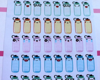 Kawaii Hydrate Planner Stickers, Hydration, Drink Up, Water Tracking, Water, Health, Stickers