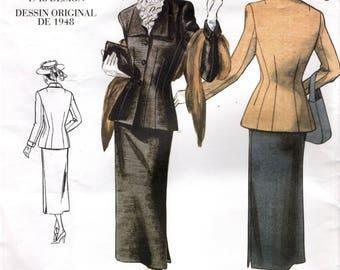 Vogue 2339 Reissue of 1948  Suit VOGUE VINTAGE MODEL Size 6 - 8 - 10