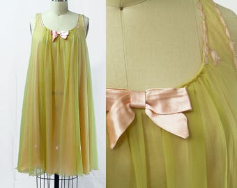 Vintage 1960s Green & Pink Embroidered Chiffon Nightgown / Size S/M