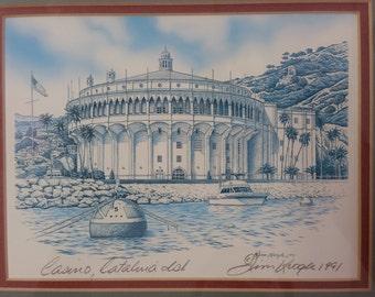 Casino Catalina Island Signed Jim Krogle 1991 Artwork
